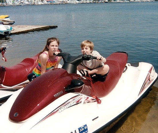 he wanted to drive that waverunner so bad!