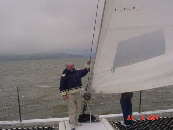 Bill out on the catamaran tour we took out to the Golden Gate Bridge and back!