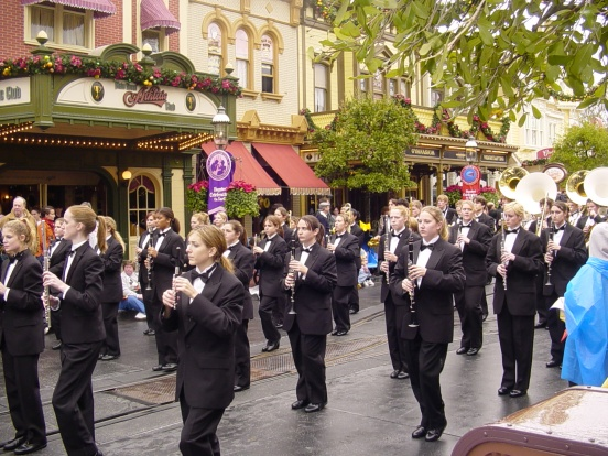 my daughter (she is in the middle with her holding her piccolo) marching on Main Street USA in Magic Kingdom, Walt Disney World FL in 2005