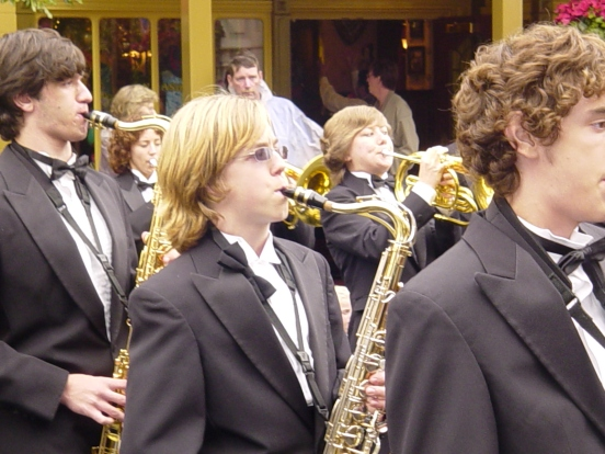 My son playing his tenor sax on Main Street USA in Magic Kingdom, Disney World FL in 2005