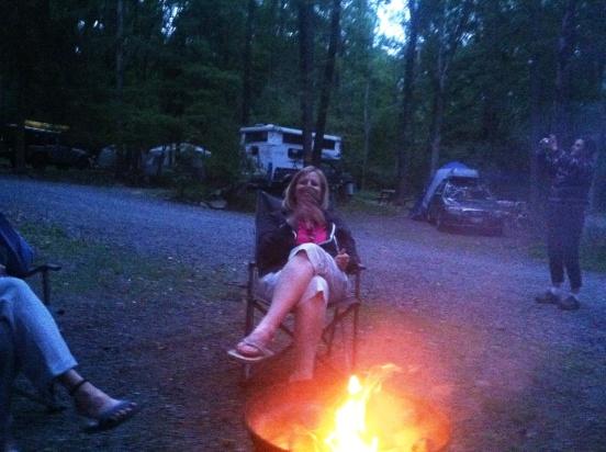 Cori chillin' by the fire