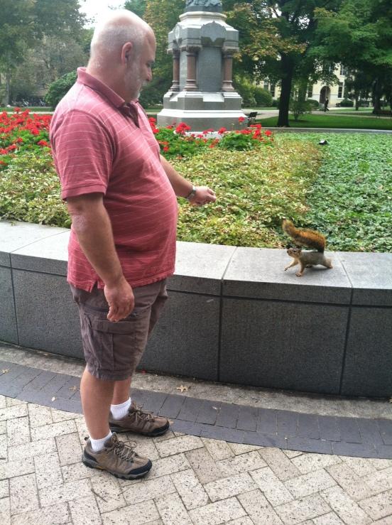 Bill making a new friend