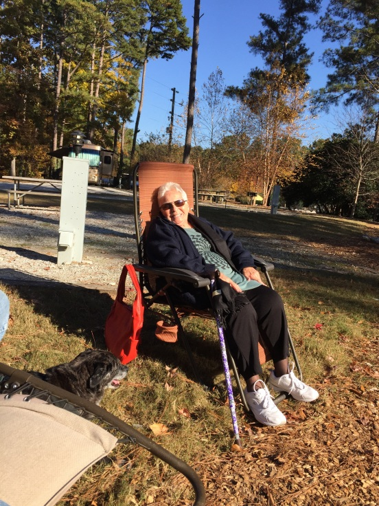 my beautiful Aunt Aura, enjoying the sunshine at our site!