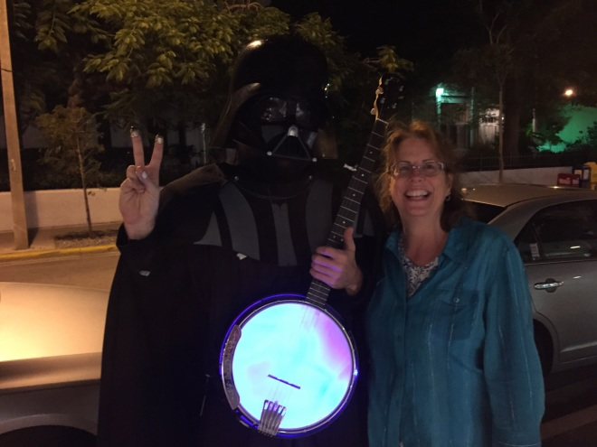 another pic opportunity I could not pass up!  I mean seriously!  Darth Vadar playing a glow in the dark banjo!
