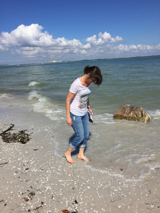 my sister searching for shells