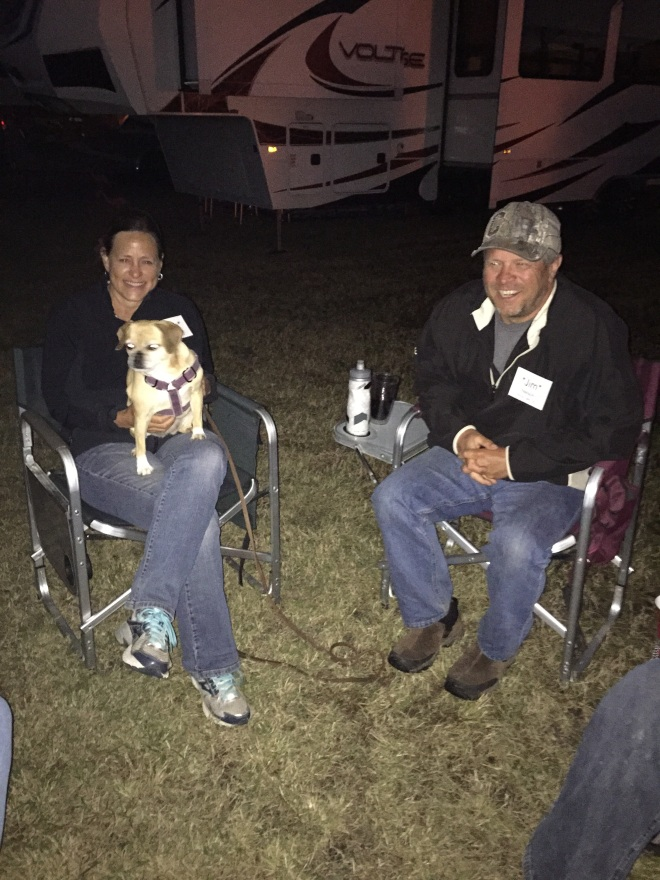 Jim and Barb - and Daisy - the barkless dog
