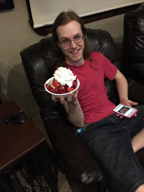 one of his fav's - strawberry shortcake!  I made it myself!
