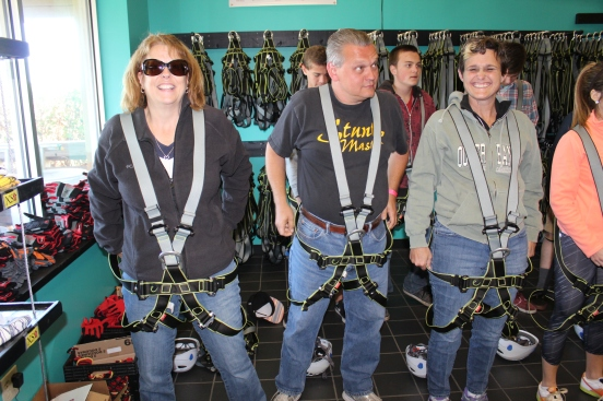 trying to figure out all the straps - they were very good at making sure we were secure