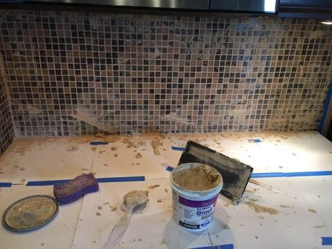 giving the grout a little time to set up