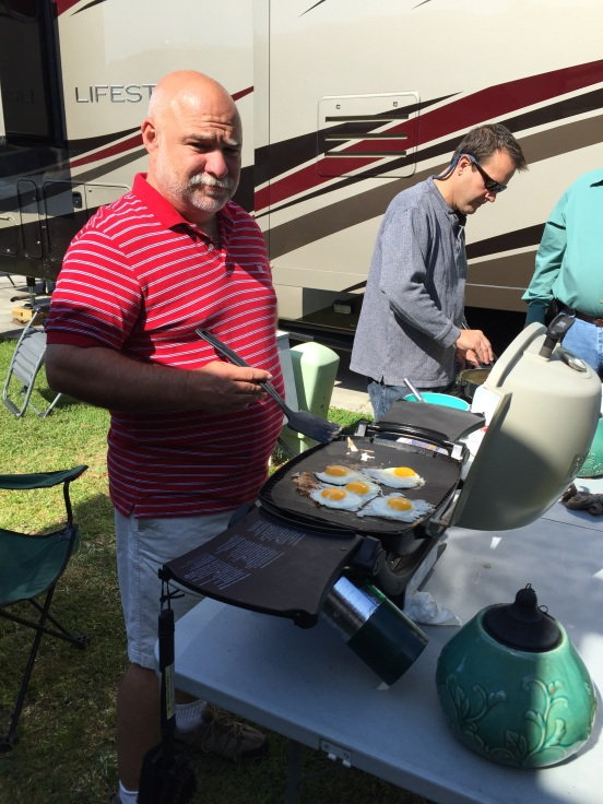 Bill and Greg cooked some eggs to go with the biscuits and gravy, and Sue brought a delish fruit salad