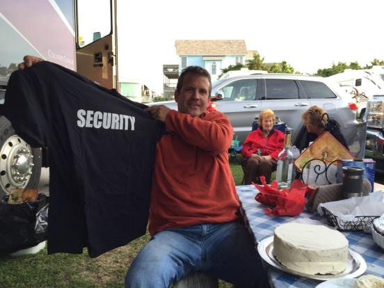 Cori got him this t-shirt since he is our security person!