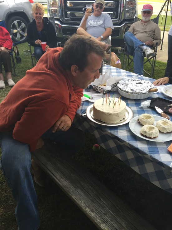 Greg blowing out the candles!