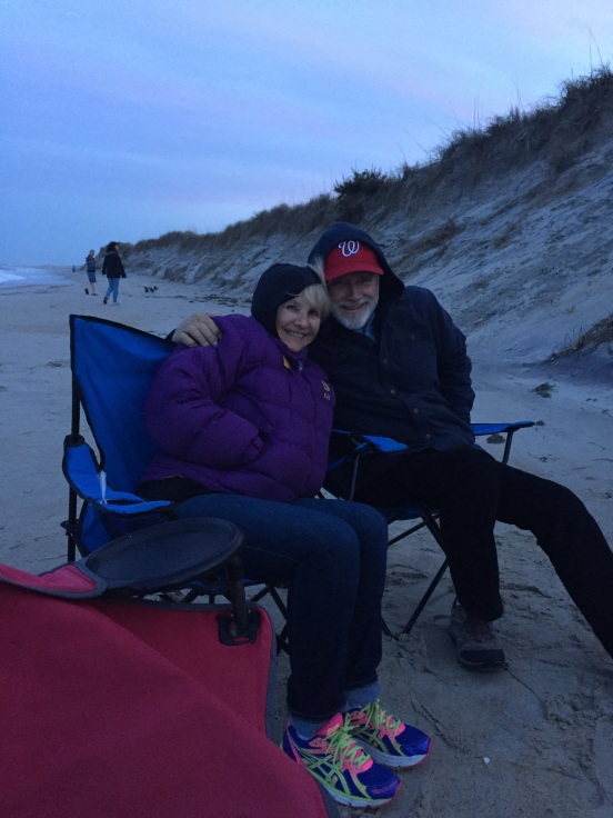 Eileen & Gene - getting ready for our last fire!