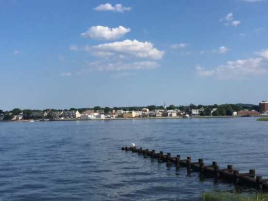 view of Keyport, NJ from the seawall