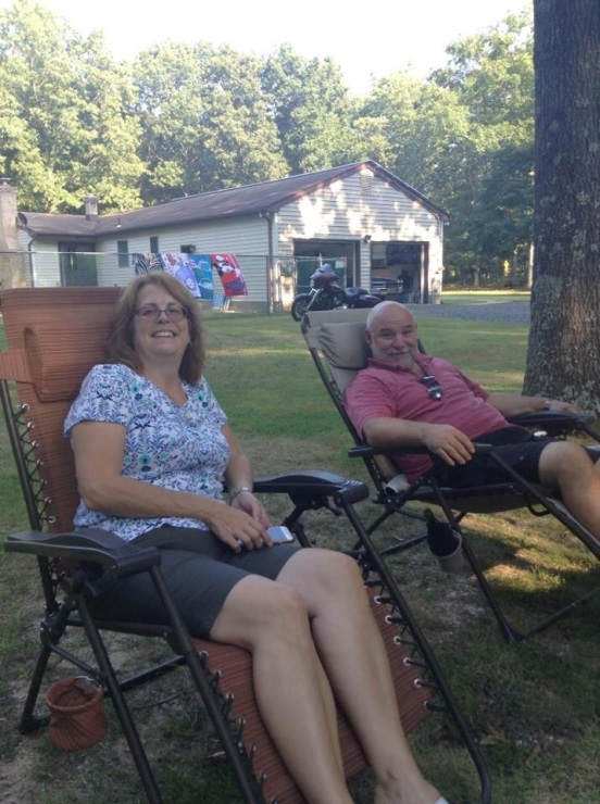 Bill and I sitting in our comfy chairs