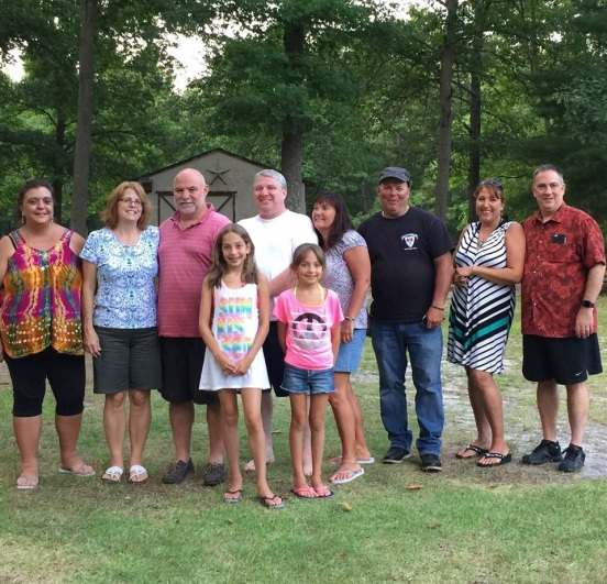 L to R - Gina, me, Bill, John, Susan, Jimmy, Johanna, Michael. In the front, the 2 young girls are Olivia and Juliette