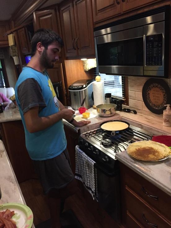 Alberto busy making us breakfast!