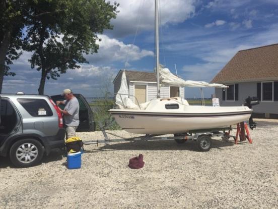 set up at the boat ramp