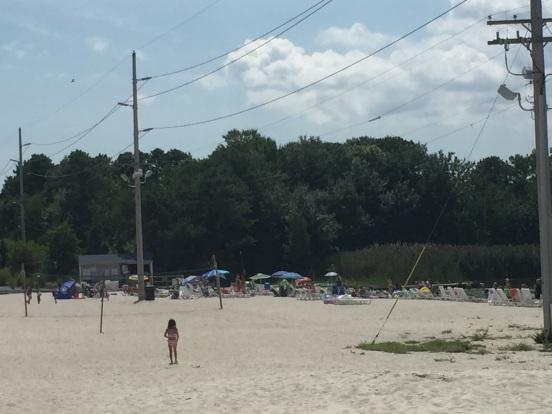 people on the lake beach
