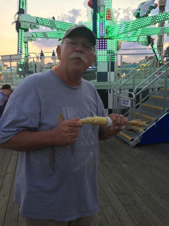 Craig enjoying a Jersey tradition - roasted corn on the cob!