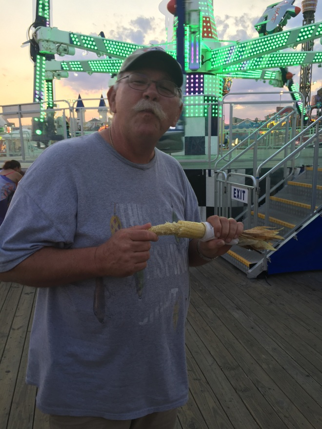 Craig enjoying a Jersey tradition - roasted corn on the cob!
