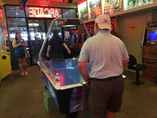 Billy might have met his match in air-hockey