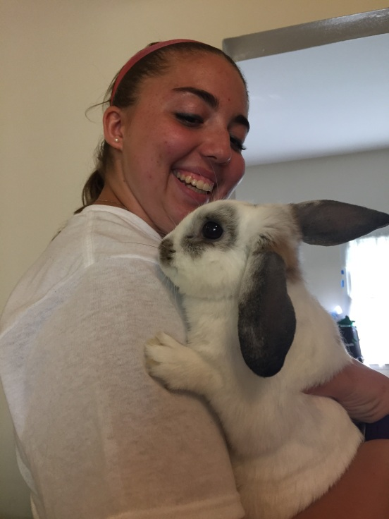Rebecca and her bunny (I think it's name is) Mozzy