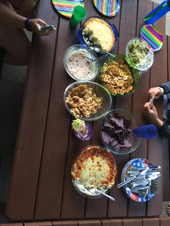We LOVE dippy stuff with chips! Here we have all kinds of yummy homemade goodies - queso, guacamole, vidallia onion dip (WOW - need the recipe for this one!), and pizza dip (need this one too!)