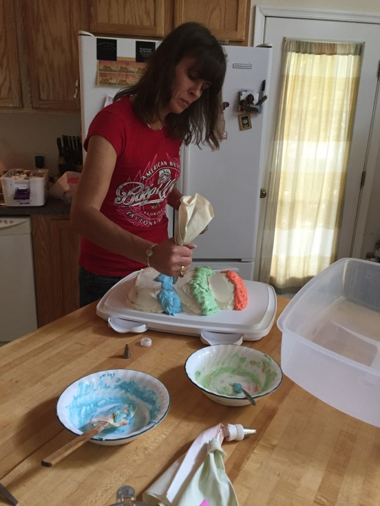 making a cake for her friend Dewey