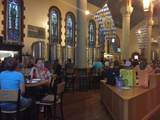 out to dinner at The Church Brewery - yes it used to be a REAL church!