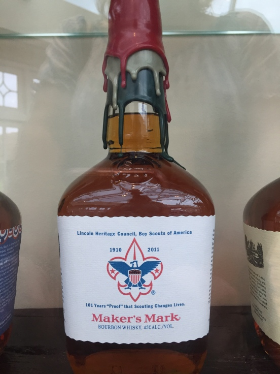 this bottle was in a display case, it caught Bill's eye b/c our son used to be a member of a pack in this district when we lived in KY.