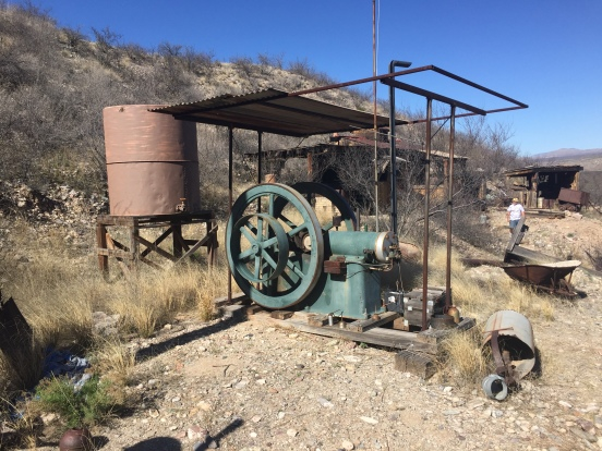 after the official tour was over, we found this old engine up on a hill