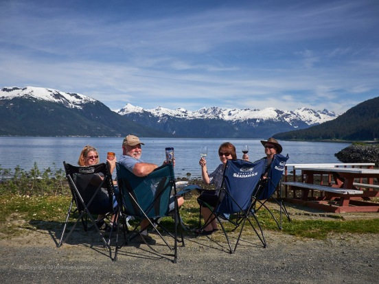 Happy Hour overlooking the water in Haines!